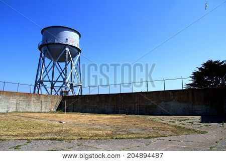 Water Tower At Alcatraz Island Federal Penitentiary