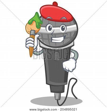 Artist microphone cartoon character design vector illustration