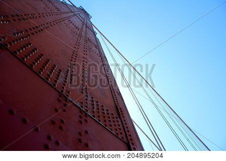 Golden Gate Bridge Pillar In San Francisco, California, Usa