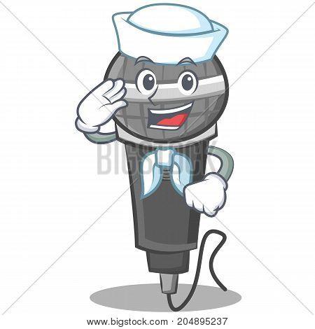 Sailor microphone cartoon character design vector illustration