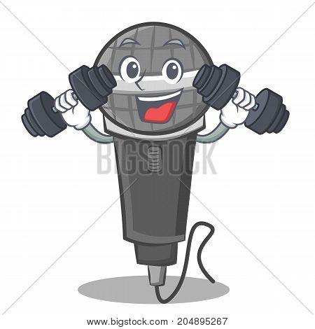 Fitness microphone cartoon character design vector illustration