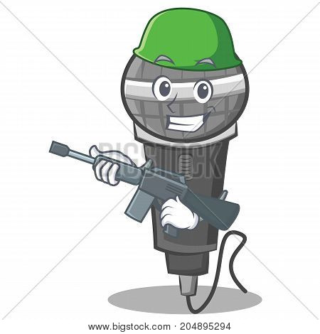 Army microphone cartoon character design vector illustration