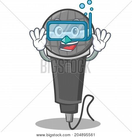 Diving microphone cartoon character design vector illustration