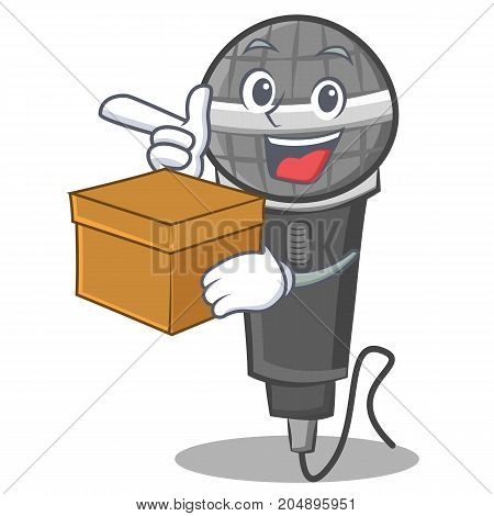 With box microphone cartoon character design vector illustration