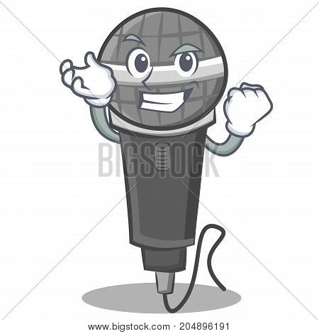 Successful microphone cartoon character design vector illustration