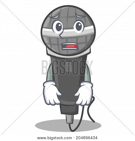 Afraid microphone cartoon character design vector illustration