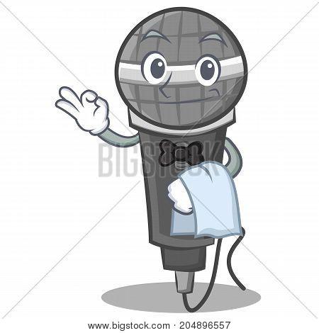 Waiter microphone cartoon character design vector illustration