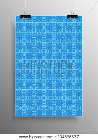 Vertical Poster Banner A4 Sized Vector Paper Clips. Blue Puzzle Pieces Arranged in a Rectangle - Vector Illustration. Jigsaw Puzzle Blank Template or Cutting Guideline. Vector Background.