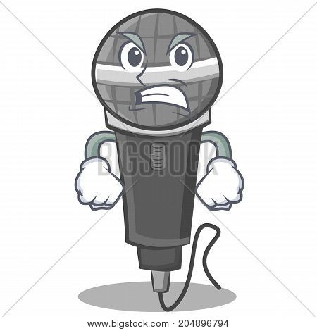 Angry microphone cartoon character design vector illustration
