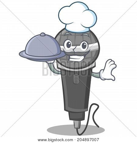 Chef with food microphone cartoon character design vector illustration