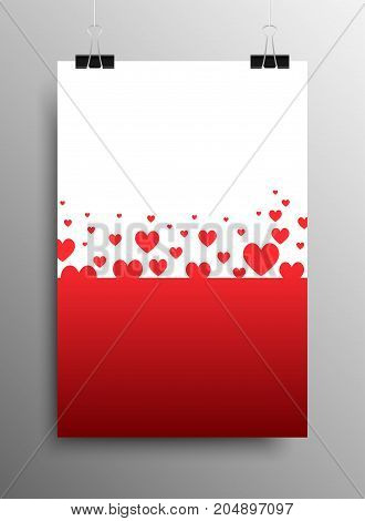 Vertical Poster Banner A4 Sized Vector Paper Clips. Vector Abstract Background. I Love You. Falling Hearts. Rain of Hearts. Valentines Day.