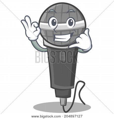 Call me microphone cartoon character design vector illustration