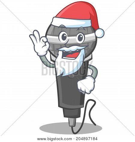 Santa microphone cartoon character design vector illustration