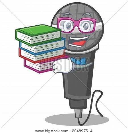 Student with book microphone cartoon character design vector illustration