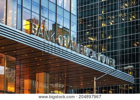 New York USA - 28 September 2016: The Bank of America Tower at One Bryant Park is a 1200 ft skyscraper in the Midtown area of Manhattan. It is located on Avenue of the Americas between 42nd and 43rd Streets