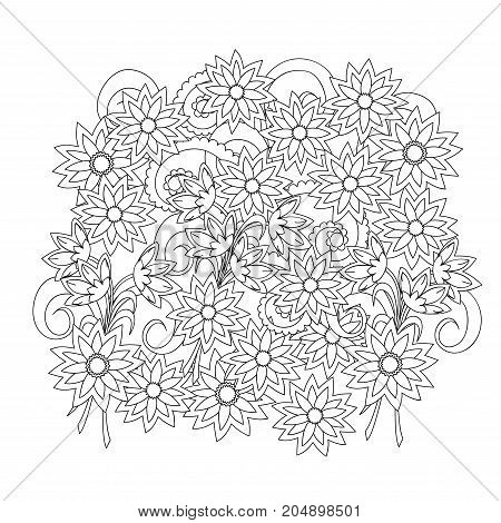 Hand drawn doodle composition with flowers for greeting card clothes print decorate stationery case phone dishes porcelain ceramics adult antistress coloring book. eps 10