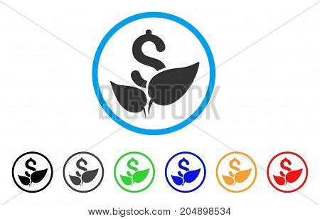 Agriculture Startup rounded icon. Style is a flat agriculture startup gray symbol inside light blue circle with black, gray, green, blue, red, orange variants.