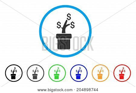 Business Project Plant rounded icon. Style is a flat business project plant grey symbol inside light blue circle with black, gray, green, blue, red, orange color versions.