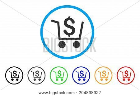 Checkout rounded icon. Style is a flat checkout grey symbol inside light blue circle with black, gray, green, blue, red, orange color versions. Vector designed for web and software interfaces.