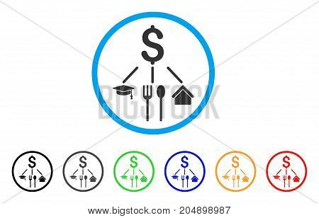 Consumption Pattern rounded icon. Style is a flat consumption pattern gray symbol inside light blue circle with black, gray, green, blue, red, orange variants.