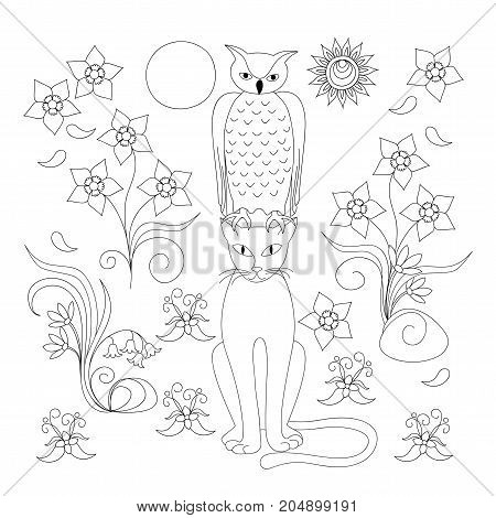 Coloring page with hand drawn cartoon cat owl and flowers for kids and adult anti-stress coloring book album. Print for home art decorate wall kids room. Black and white outline illustration. eps 10