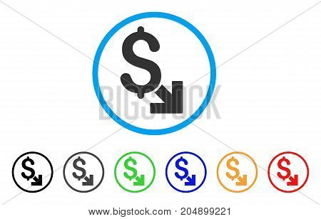 Dollar Decrease rounded icon. Style is a flat dollar decrease gray symbol inside light blue circle with black, gray, green, blue, red, orange color versions.