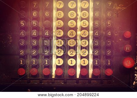 keypad of calculator vintage. history of business