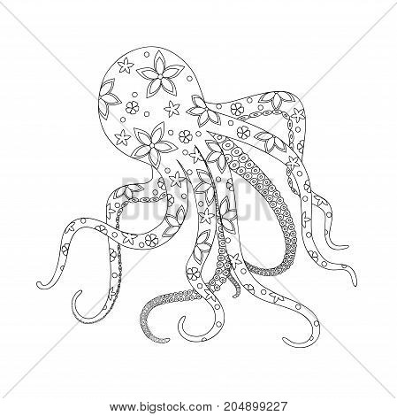 Isolated octopus with floral pattern for kids coloring book album tutorials design for logo decorate stationery notebook t-shirts print. Black and white outline illustration. eps 10