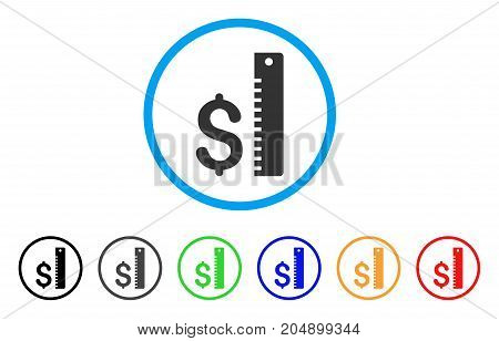 Dollar Rate rounded icon. Style is a flat dollar rate grey symbol inside light blue circle with black, gray, green, blue, red, orange color versions. Vector designed for web and software interfaces.
