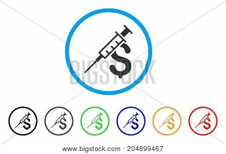 Drug Business rounded icon. Style is a flat drug business grey symbol inside light blue circle with black, gray, green, blue, red, orange versions. Vector designed for web and software interfaces.