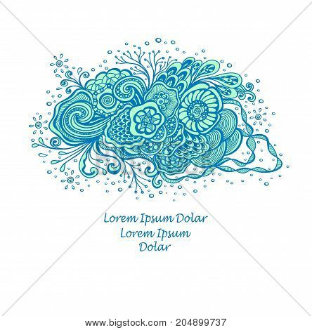 Template with abstract marine flowers bouquet in blue cyan on white for decoration  package of perfume or for cosmetic shampoo soap or for advertising hygiene products purity  freshness