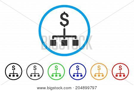 Financial Hierarchy rounded icon. Style is a flat financial hierarchy grey symbol inside light blue circle with black, gray, green, blue, red, orange color versions.