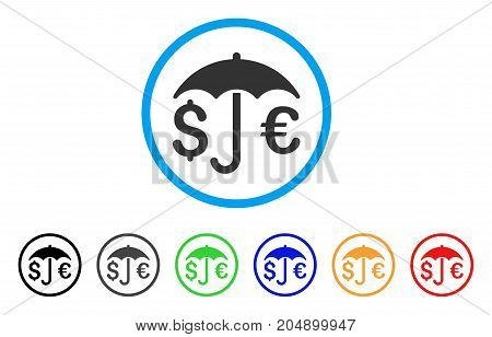 Financial Protection rounded icon. Style is a flat financial protection gray symbol inside light blue circle with black, gray, green, blue, red, orange variants.
