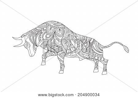 Hand drawn ornamental bull in zen style for decorate stationery dishes porcelain ceramics t-shirt print. Page anti-stress adult coloring book. eps 10