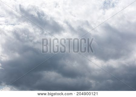 Grey Sky With Dark Rainy Clouds Before Thunderstorm Or Gale