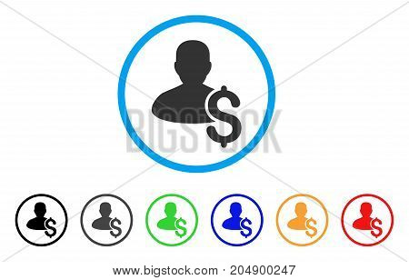 Loan Person rounded icon. Style is a flat loan person gray symbol inside light blue circle with black, gray, green, blue, red, orange variants. Vector designed for web and software interfaces.