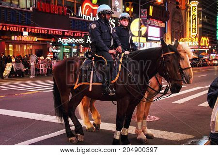 New York USA - 29 September 2016: NYPD police officers on horse back in Times Square New York City