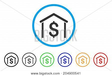 Money Garage rounded icon. Style is a flat money garage grey symbol inside light blue circle with black, gray, green, blue, red, orange color versions. Vector designed for web and software interfaces.
