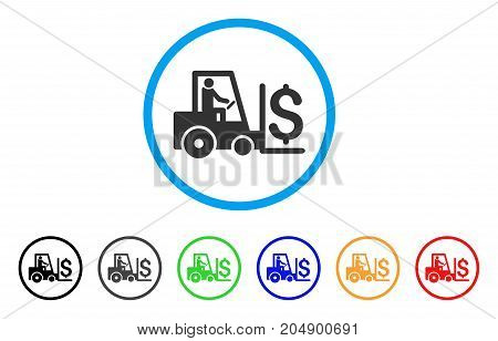 Money Warehouse rounded icon. Style is a flat money warehouse gray symbol inside light blue circle with black, gray, green, blue, red, orange versions. Vector designed for web and software interfaces.