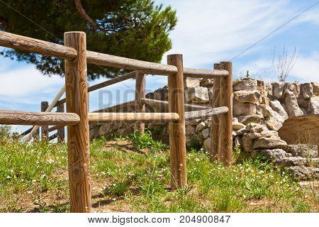 Wooden fence in a village. rural farm