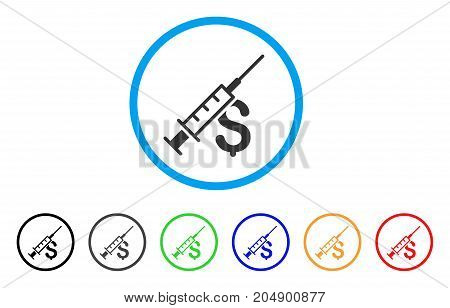 Narcotic Business rounded icon. Style is a flat narcotic business grey symbol inside light blue circle with black, gray, green, blue, red, orange variants.