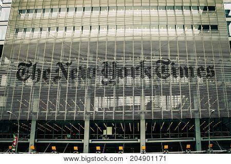 New York USA - 29 September 2016: The New York Times Building is a skyscraper on the west side of Midtown Manhattan New York City
