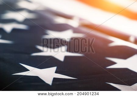 abstract blurred background of the American flag, selective focus