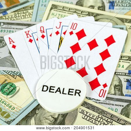Casino Dealer And Playing Cards