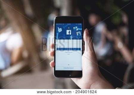 CHIANG MAI THAILAND - JULY 30 2017 : New login Screen Facebook icons on Apple iPhone. largest and most popular social networking site in the world.