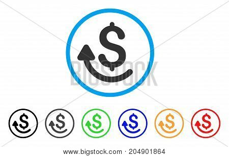 Repay rounded icon. Style is a flat repay grey symbol inside light blue circle with black, gray, green, blue, red, orange versions. Vector designed for web and software interfaces.