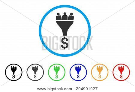 Sales Funnel rounded icon. Style is a flat sales funnel grey symbol inside light blue circle with black, gray, green, blue, red, orange variants. Vector designed for web and software interfaces.