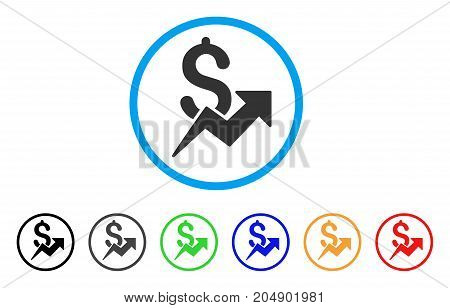 Sales Growth rounded icon. Style is a flat sales growth gray symbol inside light blue circle with black, gray, green, blue, red, orange variants. Vector designed for web and software interfaces.