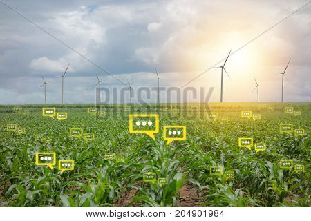 the bubble chat data the detect by futuristic technology in smart agriculture with artificial intelligence to improving yield efficiency and profitability in the farm
