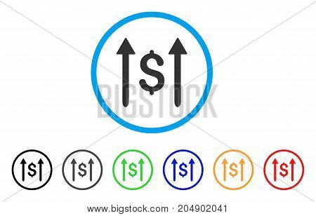Send Money rounded icon. Style is a flat send money grey symbol inside light blue circle with black, gray, green, blue, red, orange color versions. Vector designed for web and software interfaces.